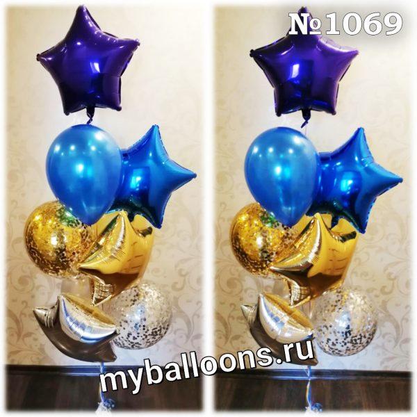 Яркий фонтан из воздушных шаров со звездами