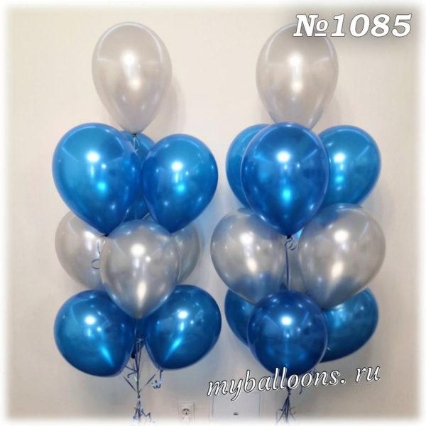 Фонтан из серебряных и синих шаров