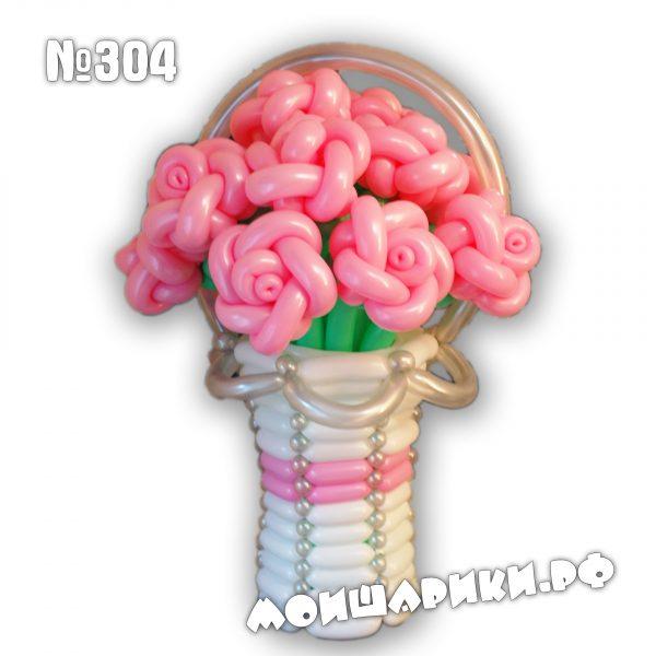 Розы из воздушных шаров в корзине