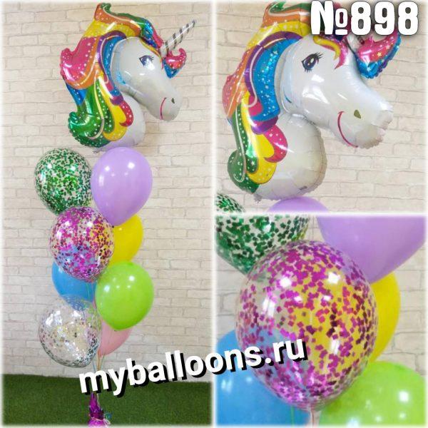 Фонтан из воздушных шаров с единорогом