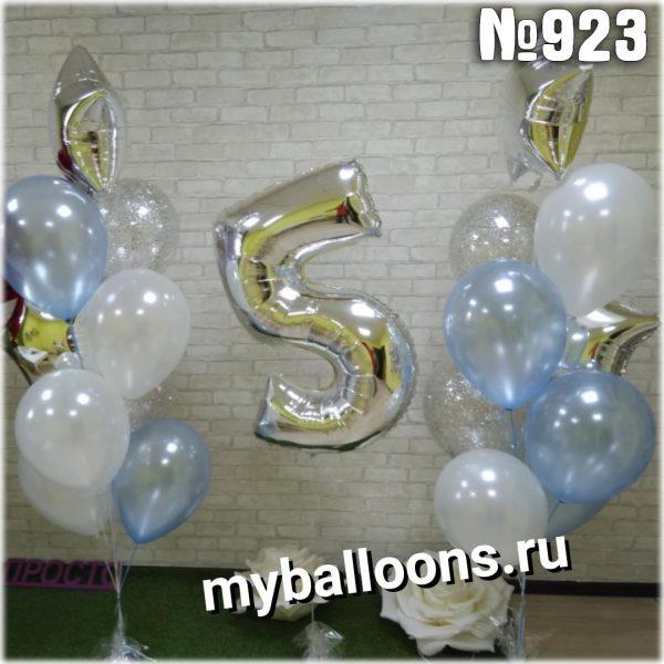 Нежные фонтаны из шаров с цифрой 5