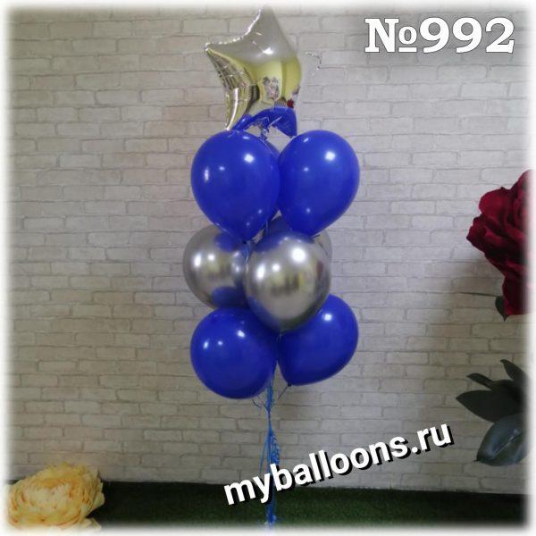 синий и серебряный фонтан из шаров