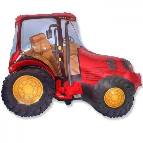 Фольгированный шар Красный трактор. Размер 97 сантиметров. Фольгированный шар Красный трактор