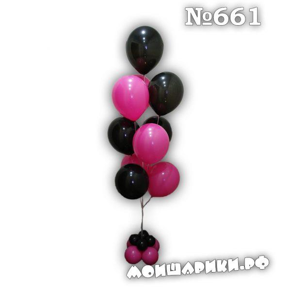 Фонтан черно-малиновый из воздушных шаров