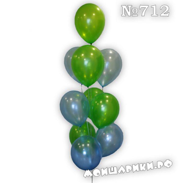 фонтан из 10 шаров металлик голубой и зеленый