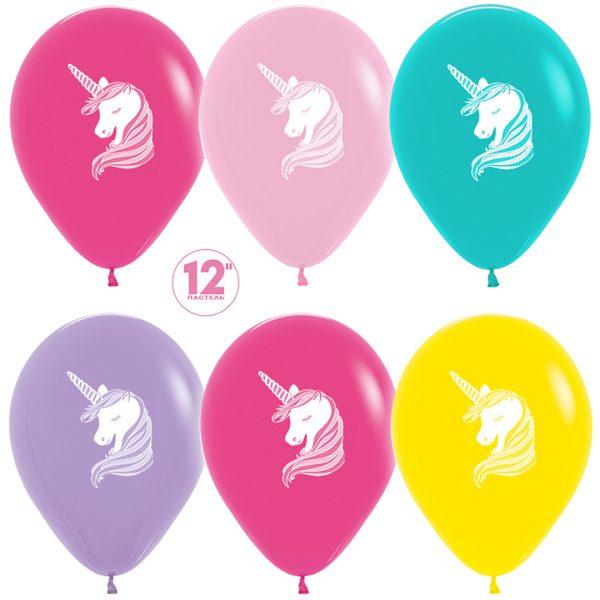 воздушные шары с единорогом разноцветные