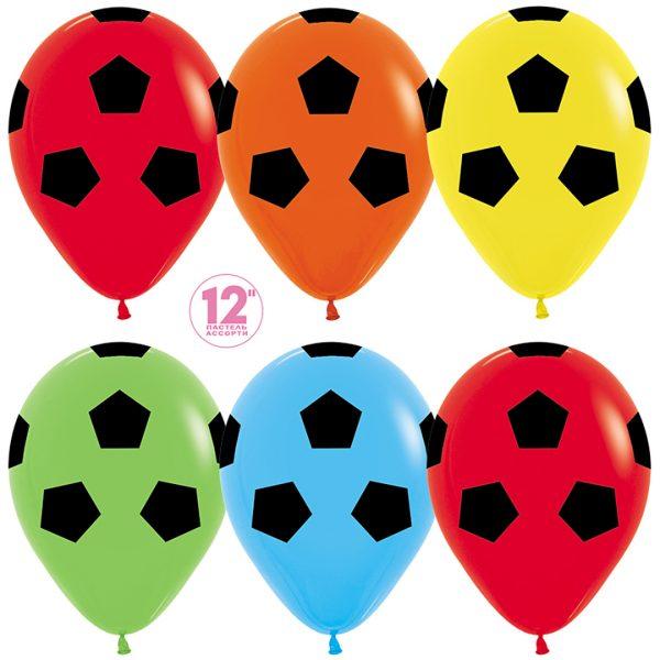 разноцветные шарики в виде футбольного мяча