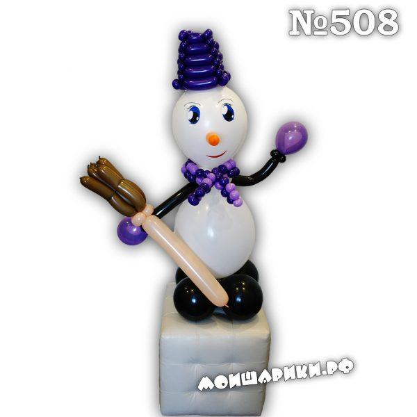Снеговик из воздушных шаров тип 2