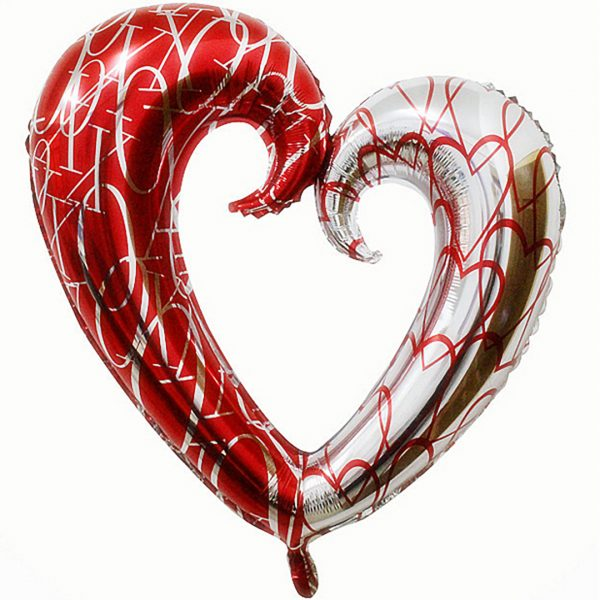 Сердце полое красный-серебро