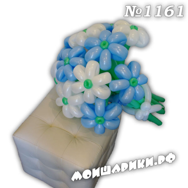 Ромашка из воздушных шаров бело-голубая