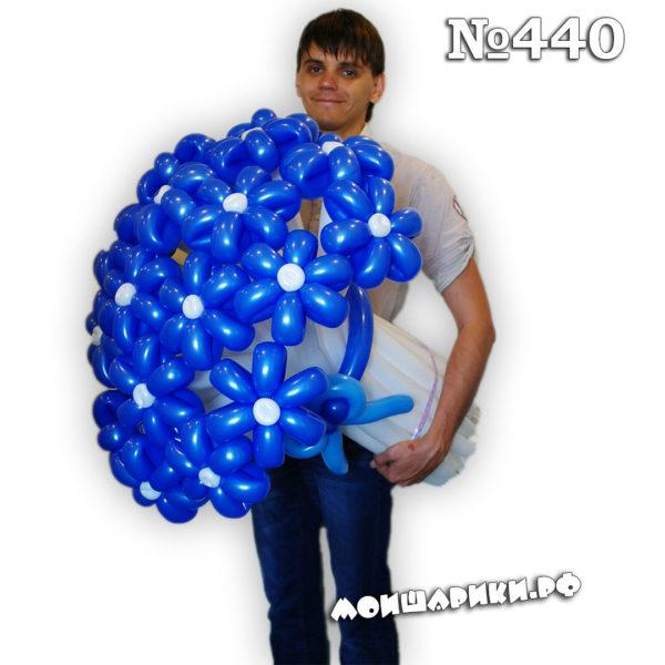 ромашка из шаров темно-синяя