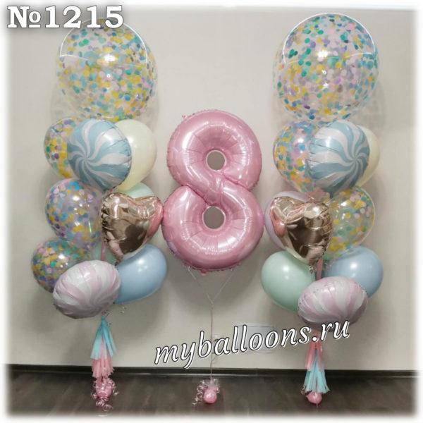Большие фонтаны с шарами баббл и цифра