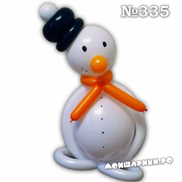 Небольшой снеговик из шариков