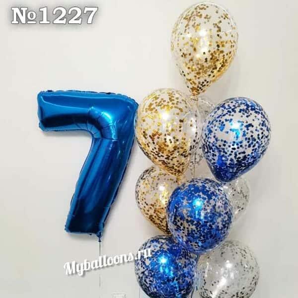 Фонтан с цифрой 7 и шарами с конфетти