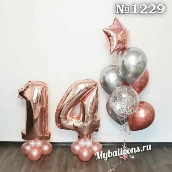 Цифра из шаров в розовом золоте и фонтан