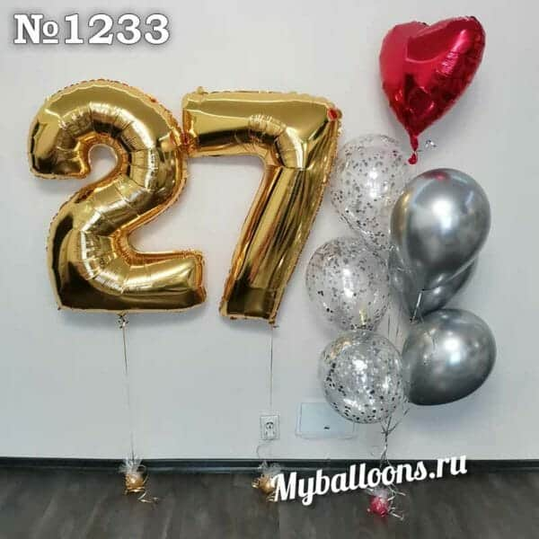 Цифра 27 из шаров и фонтан