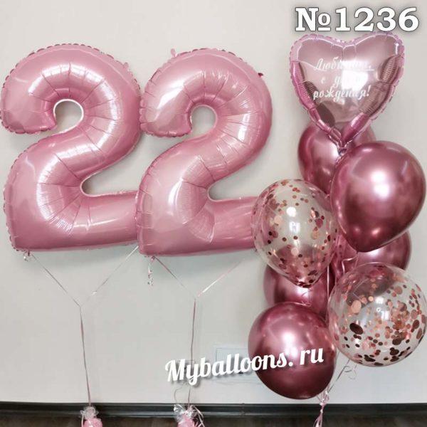 Цифры и фонтан из шаров в розовом
