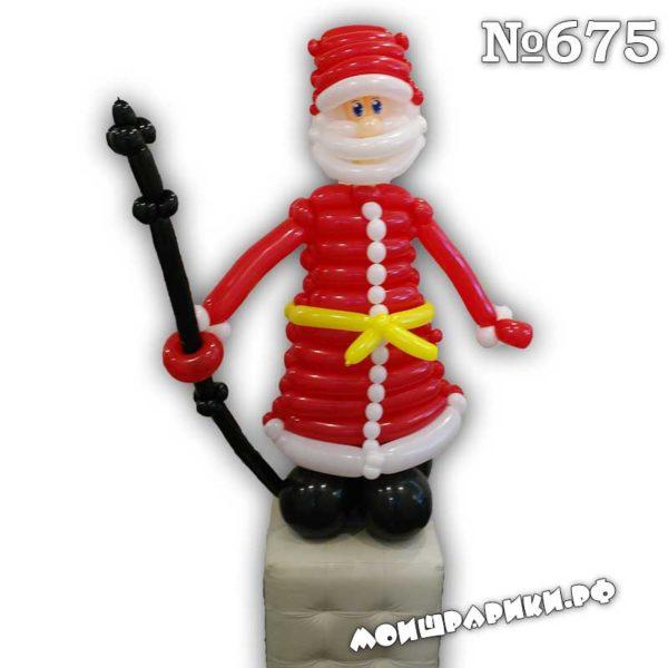 Дед мороз из воздушных шаров в красной шубе