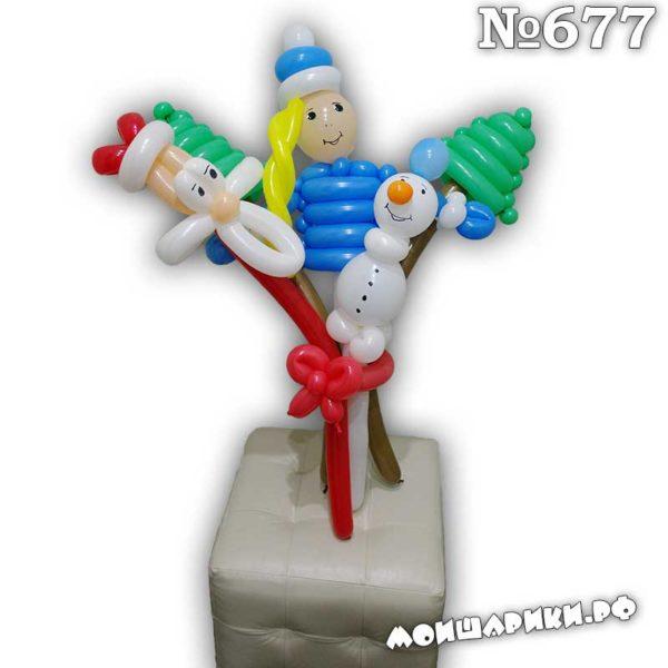 Новогодний букет персонажей из шариков