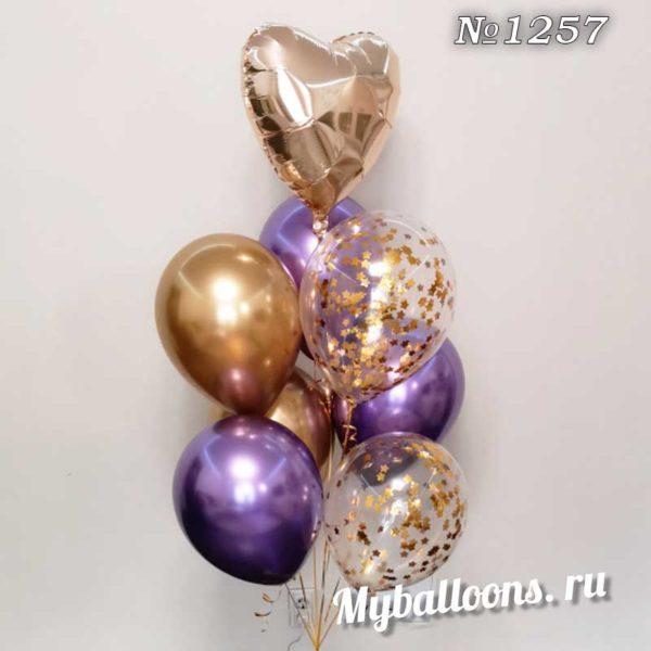 Нежно-золотой фонтан из воздушных шаров