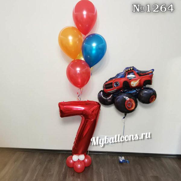 Красная цифра 7 из шаров с машиной