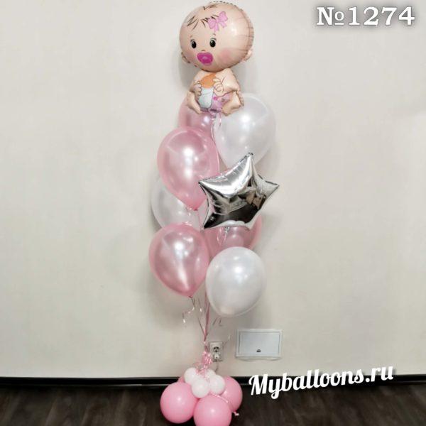 Фонтан из шаров на выписку для малышки