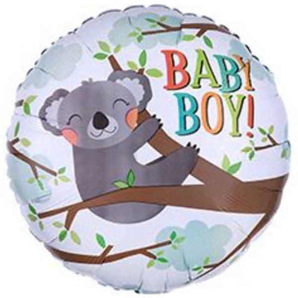 Круглый шар 45 см на выписку мальчика с пандой