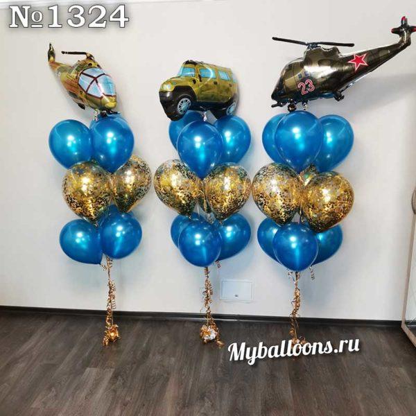 Фонтаны из шаров с военной техникой